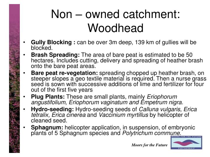 Non – owned catchment: Woodhead