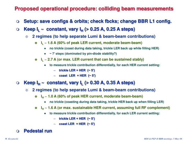 Proposed operational procedure: colliding beam measurements