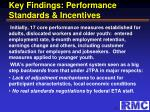 key findings performance standards incentives