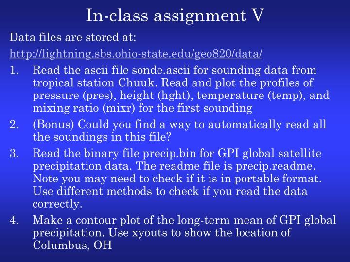 In-class assignment V