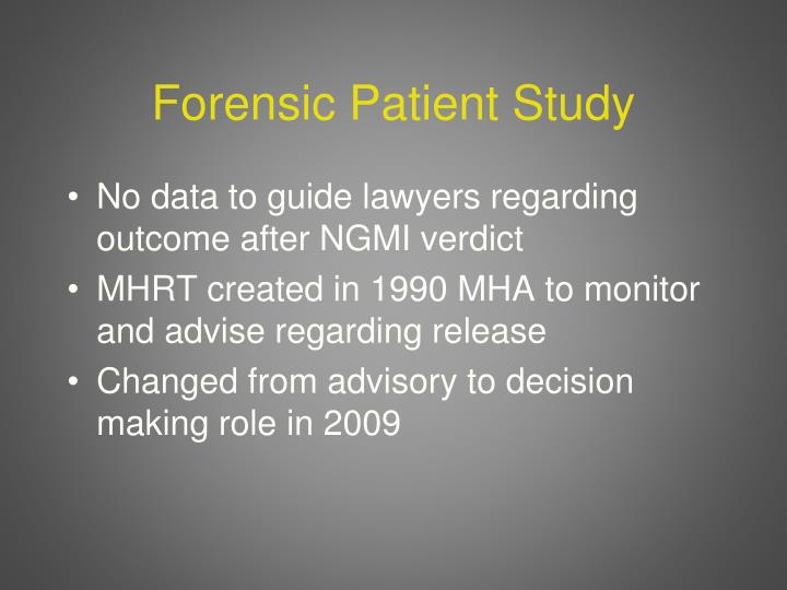 Forensic Patient Study