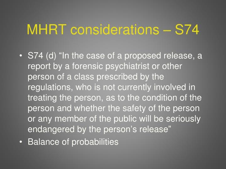 MHRT considerations – S74