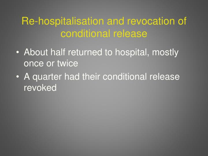 Re-hospitalisation and revocation of conditional release