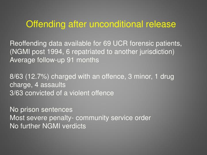 Offending after unconditional release