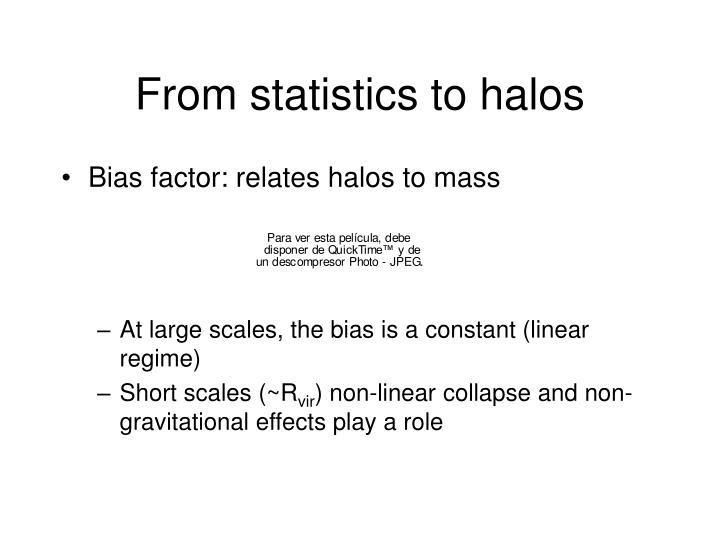 From statistics to halos