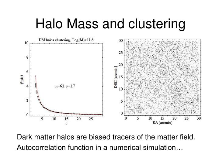 Halo Mass and clustering