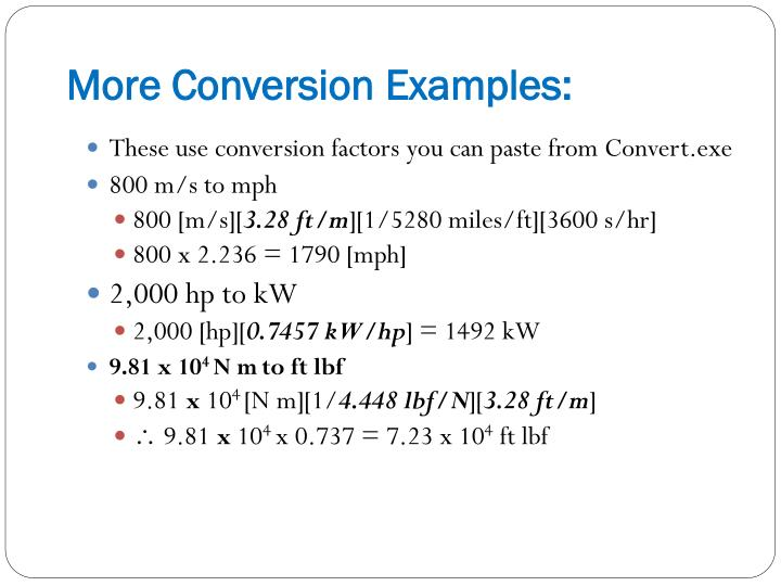 More Conversion Examples: