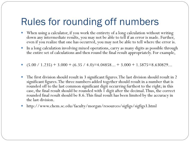 Rules for rounding off numbers