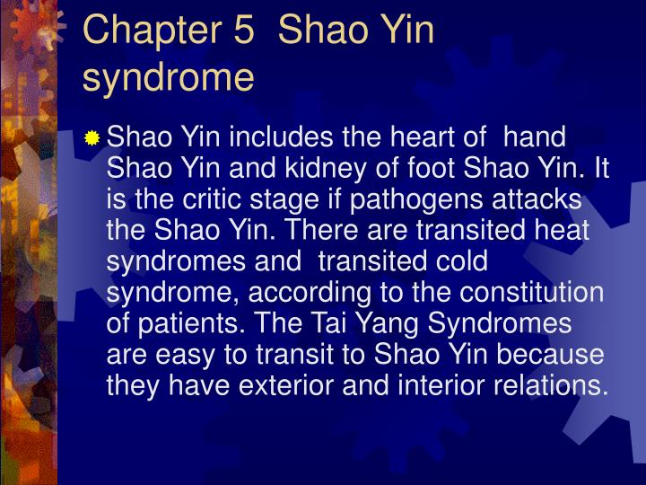 Chapter 5  Shao Yin syndrome