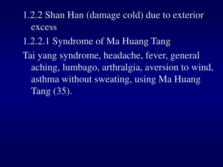 1.2.2 Shan Han (damage cold) due to exterior excess