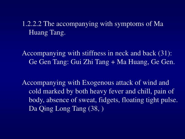 1.2.2.2 The accompanying with symptoms of Ma Huang Tang.