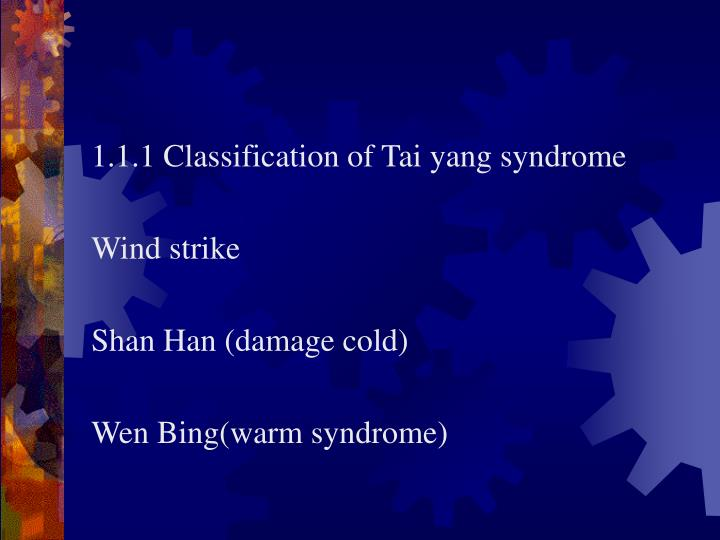 1.1.1 Classification of Tai yang syndrome