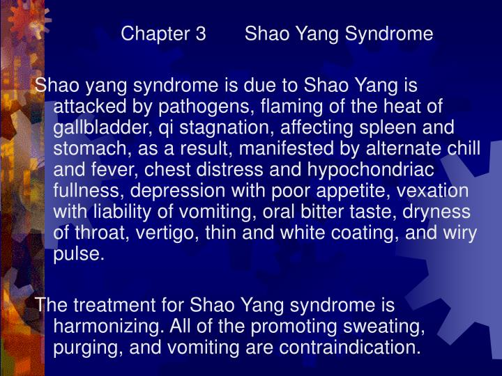 Chapter 3       Shao Yang Syndrome