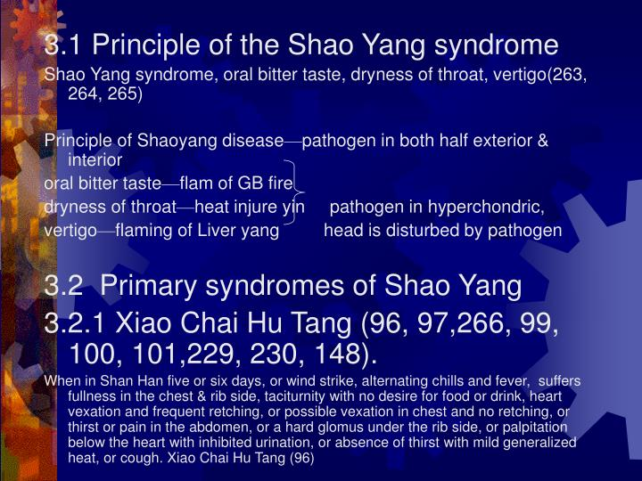3.1 Principle of the Shao Yang syndrome