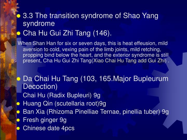 3.3 The transition syndrome of Shao Yang syndrome