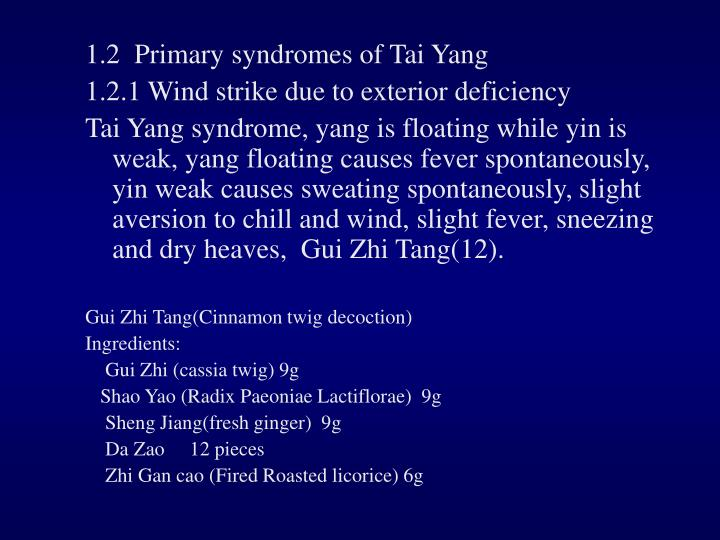 1.2  Primary syndromes of Tai Yang