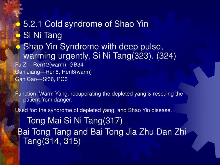 5.2.1 Cold syndrome of Shao Yin
