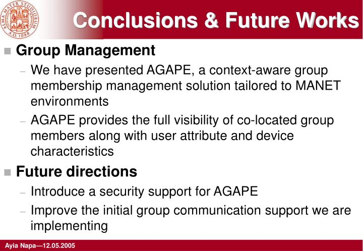 Conclusions & Future Works