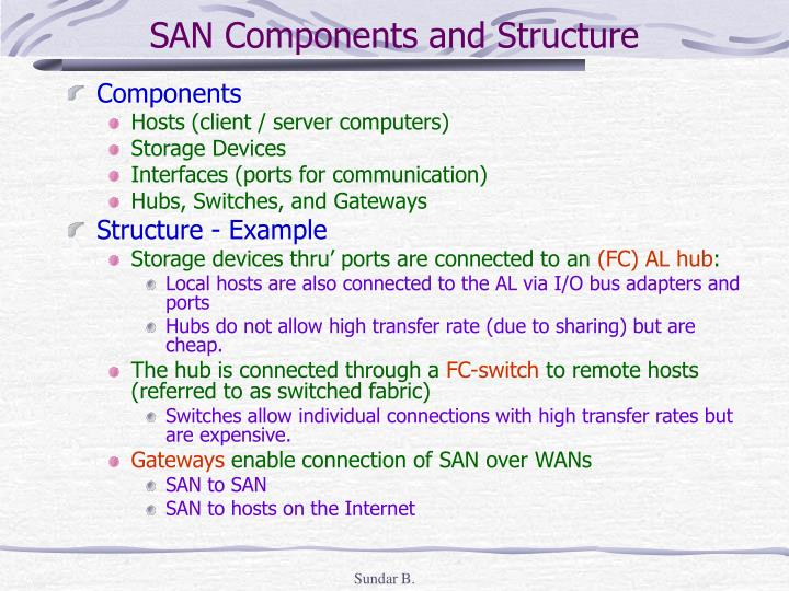 SAN Components and Structure