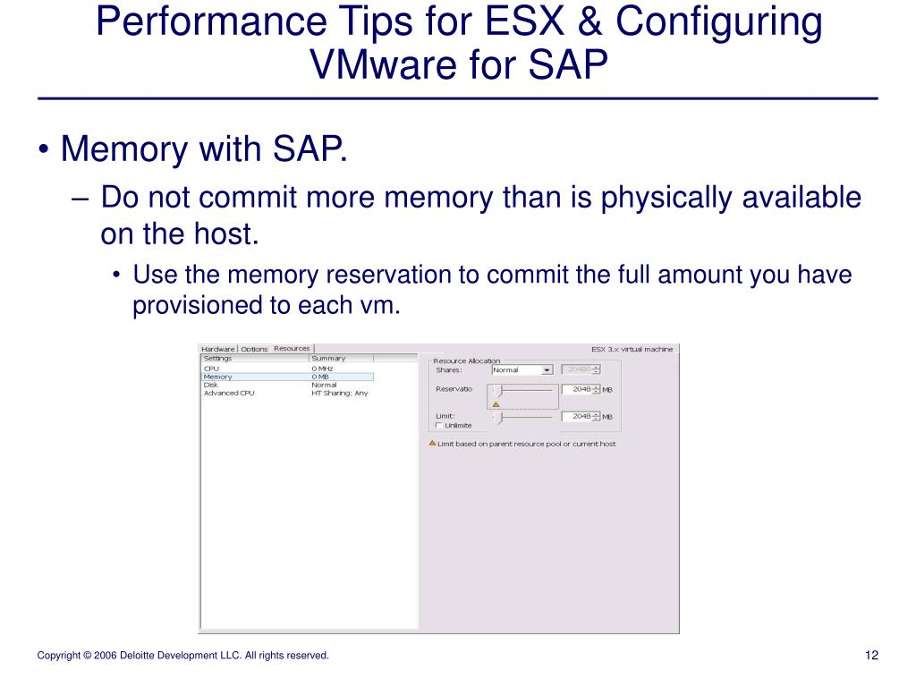 PPT - Performance Tips for ESX & Configuring VMware for SAP