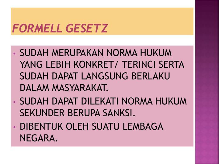 FORMELL GESETZ