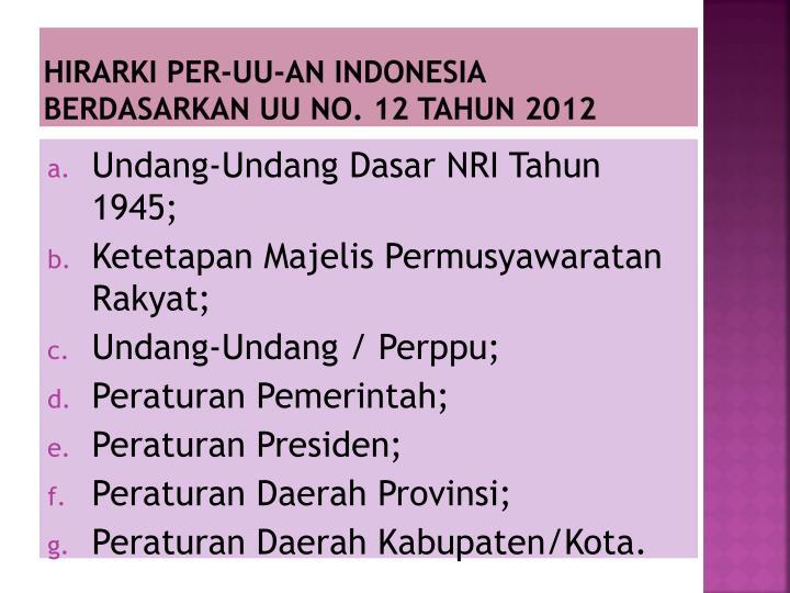 HIRARKI PER-UU-AN INDONESIA BERDASARKAN UU NO. 12 TAHUN 2012