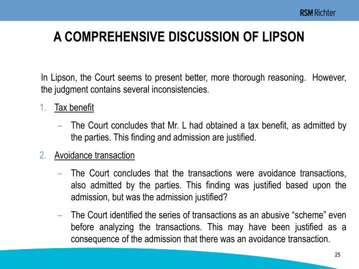 A COMPREHENSIVE DISCUSSION OF LIPSON