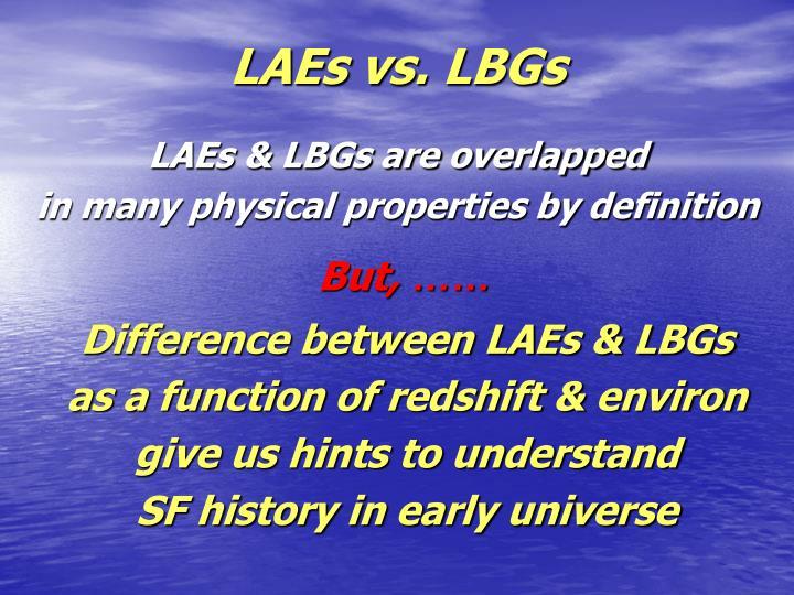LAEs vs. LBGs