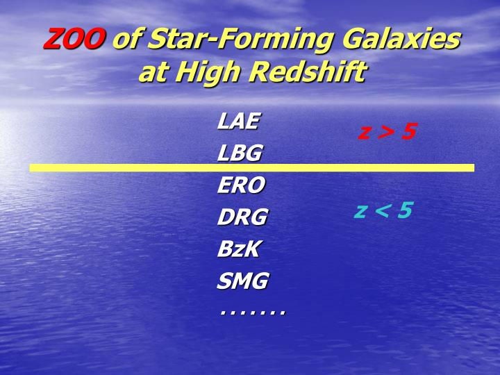 Zoo of star forming galaxies at high redshift