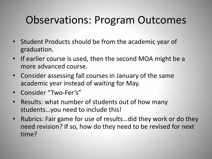 Observations: Program Outcomes