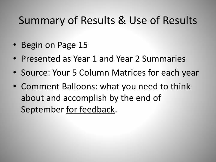 Summary of Results & Use of Results