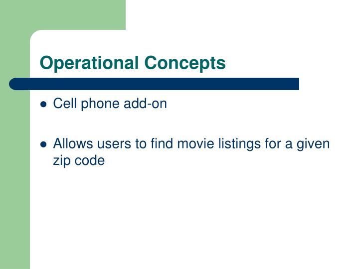 Operational concepts