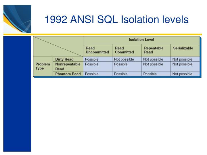 1992 ANSI SQL Isolation levels
