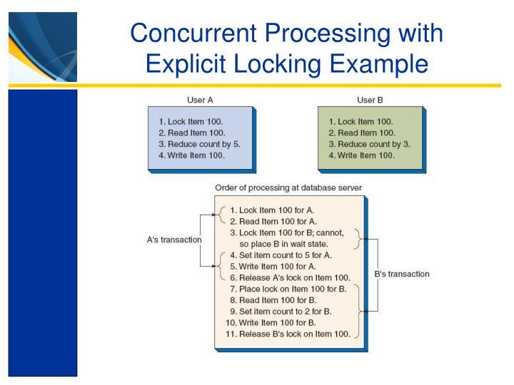 Concurrent Processing with Explicit Locking Example