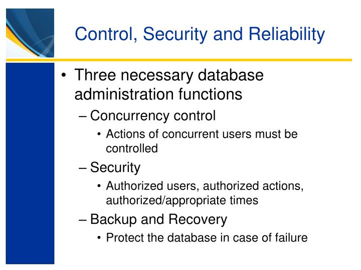 Control, Security and Reliability