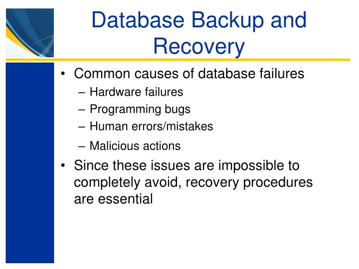 Database Backup and Recovery