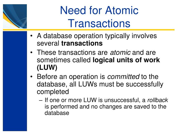 Need for Atomic Transactions