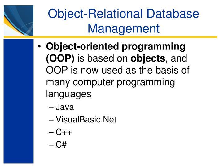 Object-Relational Database Management