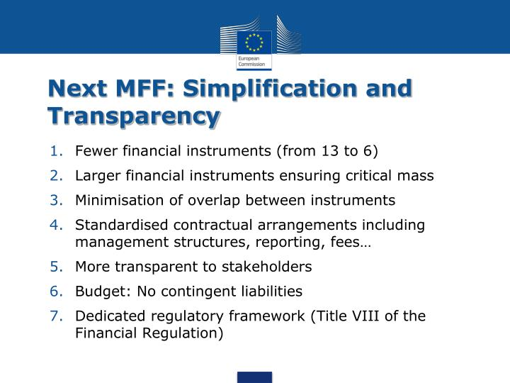 Next MFF: Simplification and Transparency