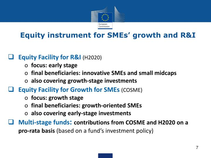 Equity instrument for SMEs' growth and R&I