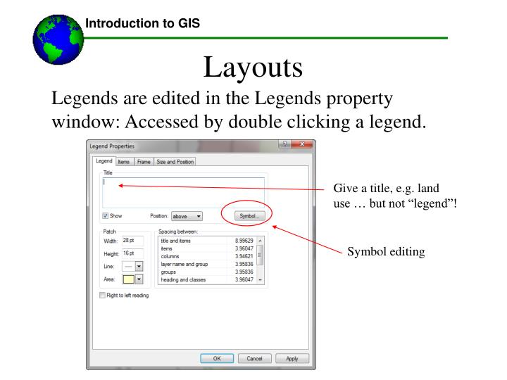 """Give a title, e.g. land use … but not """"legend""""!"""