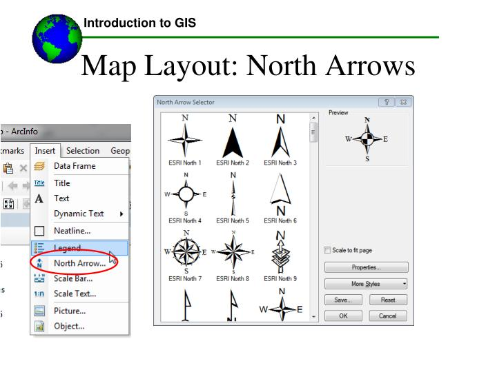 Map Layout: North Arrows