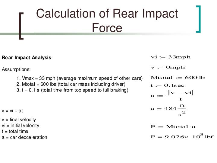 Calculation of Rear Impact Force