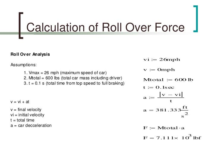 Calculation of Roll Over Force