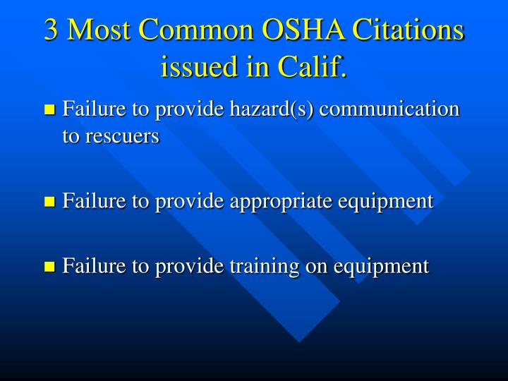 3 Most Common OSHA Citations issued in Calif.