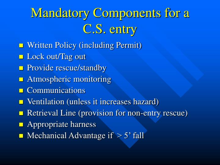 Mandatory Components for a C.S. entry