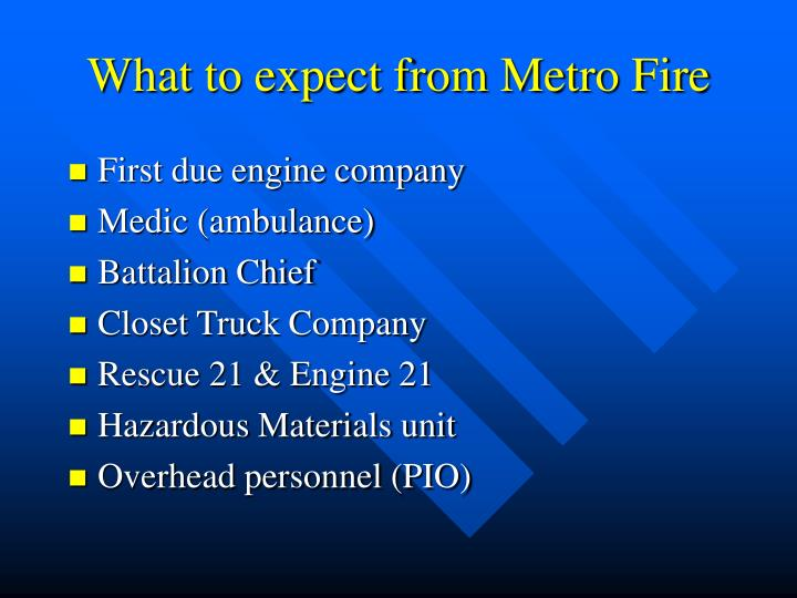 What to expect from Metro Fire