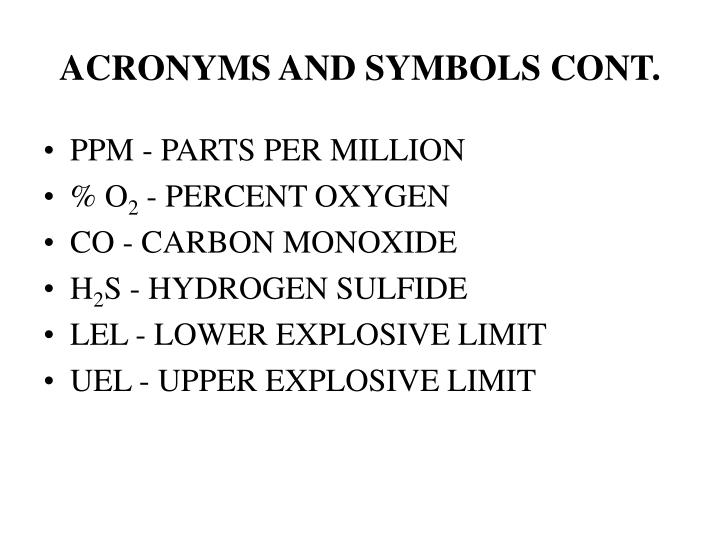 ACRONYMS AND SYMBOLS CONT.