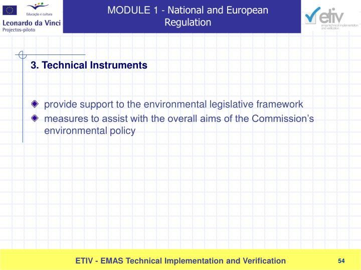 provide support to the environmental legislative framework