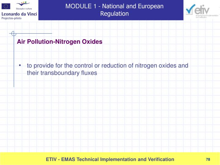 to provide for the control or reduction of nitrogen oxides and their transboundary fluxes
